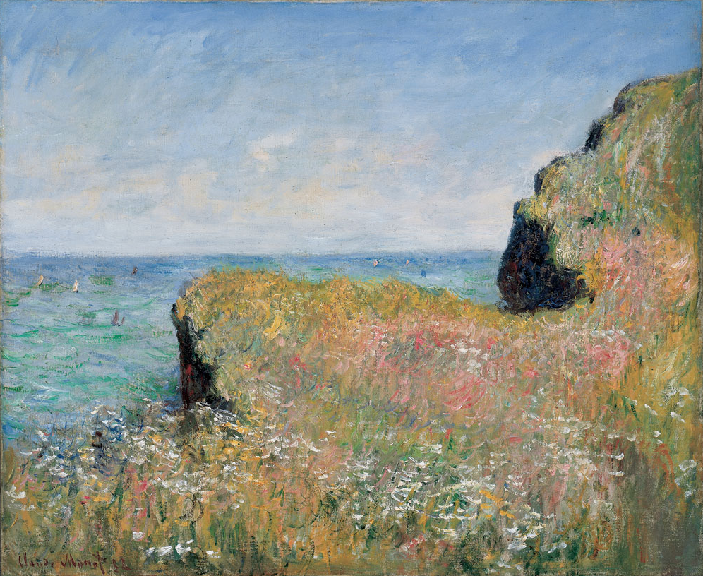 Monet Paintings and Drawings at the Art Institute of Chicago | Cat. 19  Cliff Walk at Pourville, 1882