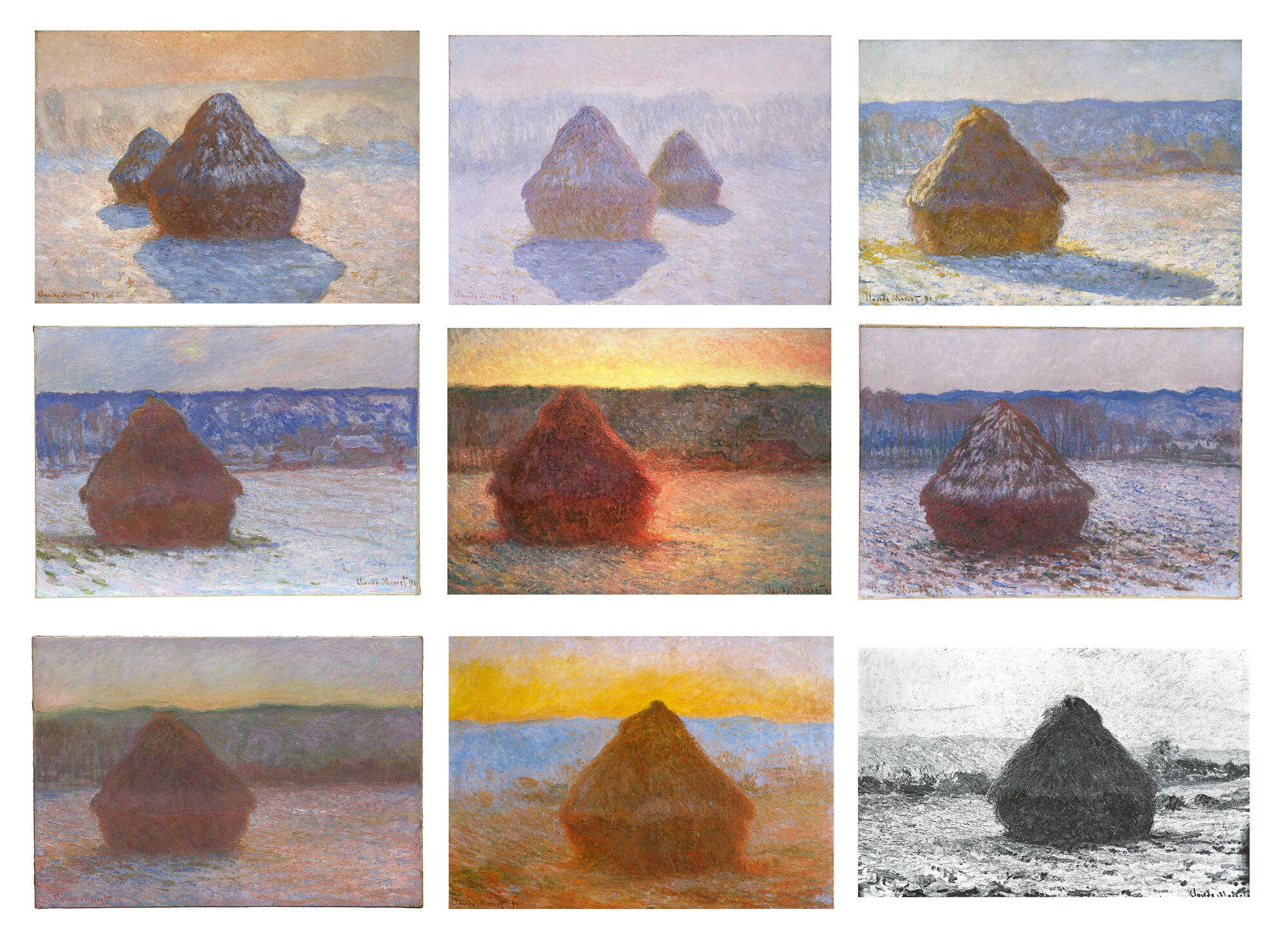 a compare contrast of monet's grainstack sunset and A painting from claude monet's acclaimed grainstack series fetched $814 million at christie's new york auction of impressionist and modern art.