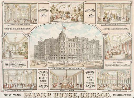Palmer House, Lithograph, Chicago History Museum
