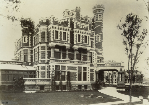 """The Palmers' home, """"The Castle,"""" at 1350 North Lake Shore Drive, 1890/91. Art Institute of Chicago Archives."""