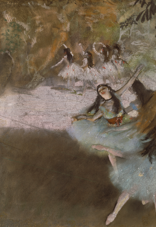 Edgar Degas (French, 1834–1917). On the Stage, 1876–77. Pastel and essence over monotype on cream laid paper, laid down on board; 59.2 × 42.8 cm (23 5/16 × 16 7/8 in.). The Art Institute of Chicago, Potter Palmer Collection, 1922.423.