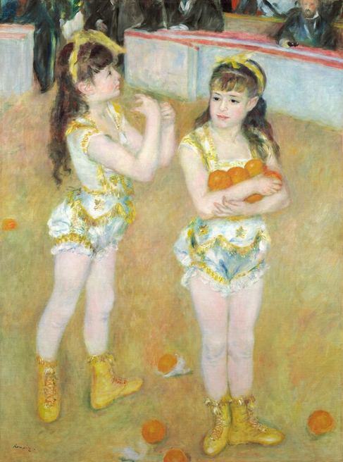 Pierre-Auguste Renoir (French, 1841–1919). Acrobats at the Cirque Fernando (Francisca and Angelina Wartenberg), 1879. Oil on canvas; 131.2 × 99.2 cm (51 1/2 × 39 1/16 in.). The Art Institute of Chicago, Potter Palmer Collection, 1922.440.