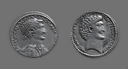 Roman Art | Online Scholarly Catalogue | Art Institute of Chicago | Tetradrachm (Coin) Portraying Queen Cleopatra VII, 37/33 B.C.